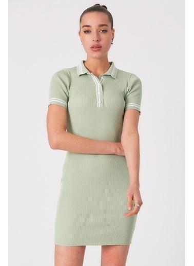 Robin Düğmeli Polo Yaka Triko Elbise Mint Yeşil